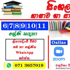 Grade 6-9, O/L Sinhala Language & Literature classes in Gampaha